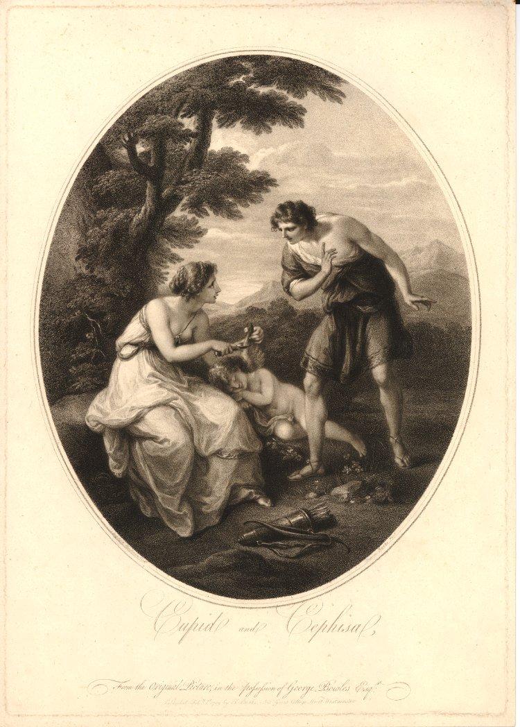 Angelika Kauffmann 1782 pour Bowles Cephise coupant les ailes de Cupidon gravure de