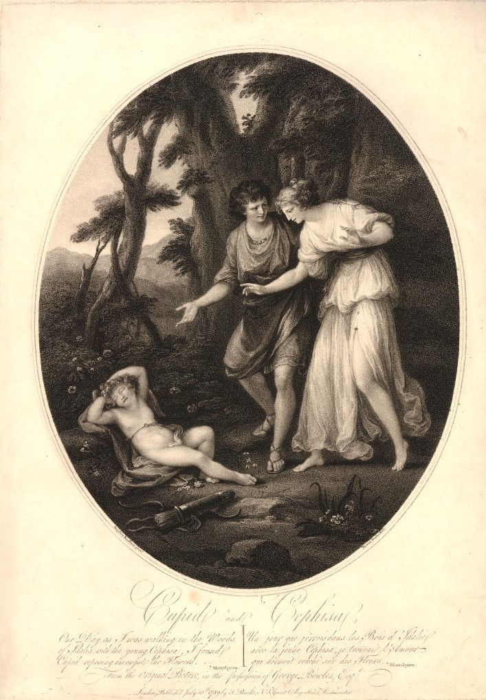 Angelika Kauffmann 1782 pour Bowles Cephise et son amant découvrant Cupidon endormi dans les bois de Sdallia gravure