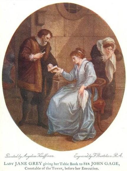 Angelika Kauffmann 1789 La reine d'Angleterre Jane Grey et le constable gravure de Bartolozzi, 1798 British Museum