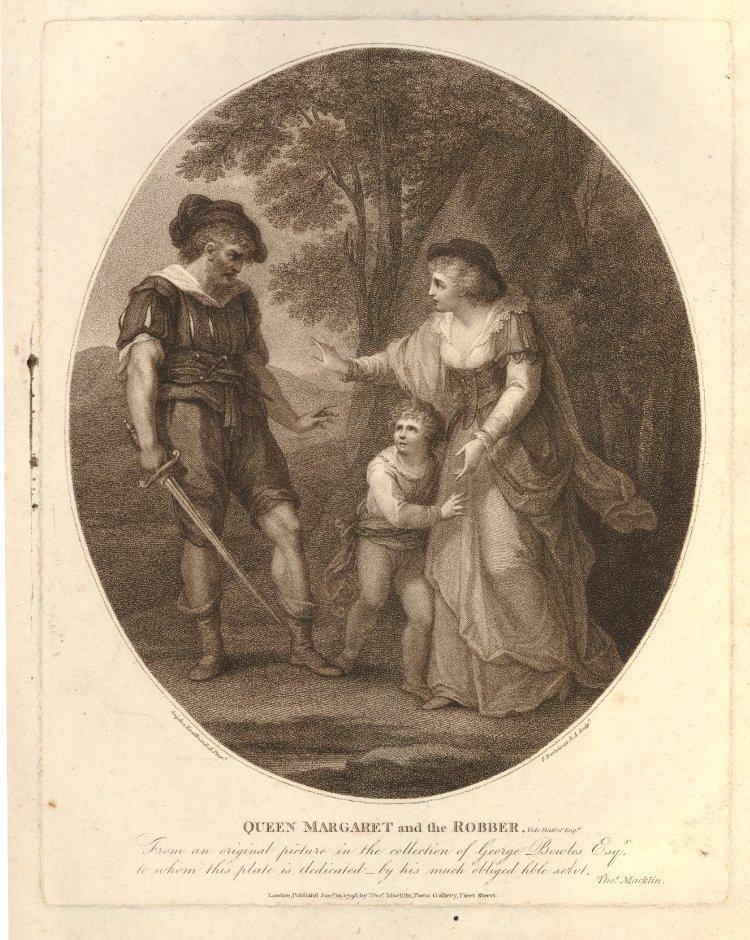Angelika Kauffmann 1789 La reine d'Angleterre Marguerite d'Anjou et la brigand gravure de Bartolozzi, 1798 British Museum