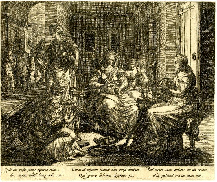 Goltzius 1578 Lucrece filant avcc ses servantes