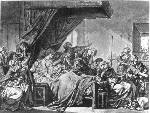 Greuze 1769 La mort d'un Pere de famille, regrette par ses enfants Strasbourg, Collection O. Kaufmann et F. Schlageter