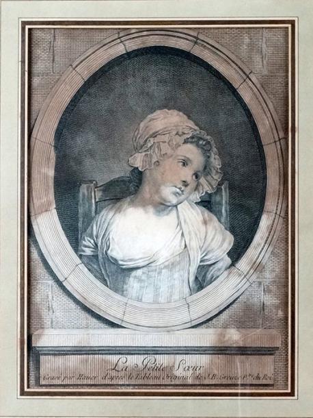 Greuze 1770-1779 La petite soeur gravure de Hauer