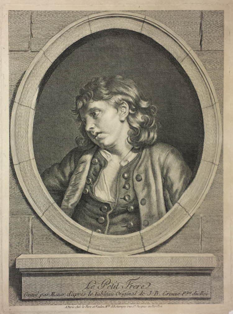 Greuze 1770-1779 Le petit frere gravure de Hauer Bristish Museum