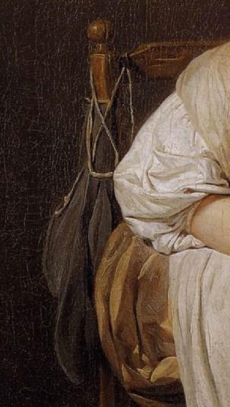 Greuze La paresseuse italienne detail sac