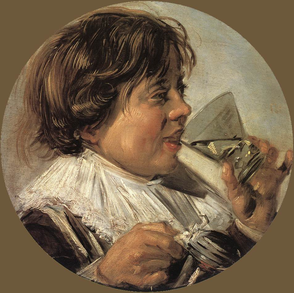 Hals 1625-28 Drinking Boy (Taste) Boy with a glass and a pewter jug Staatliches Museum Schwerin