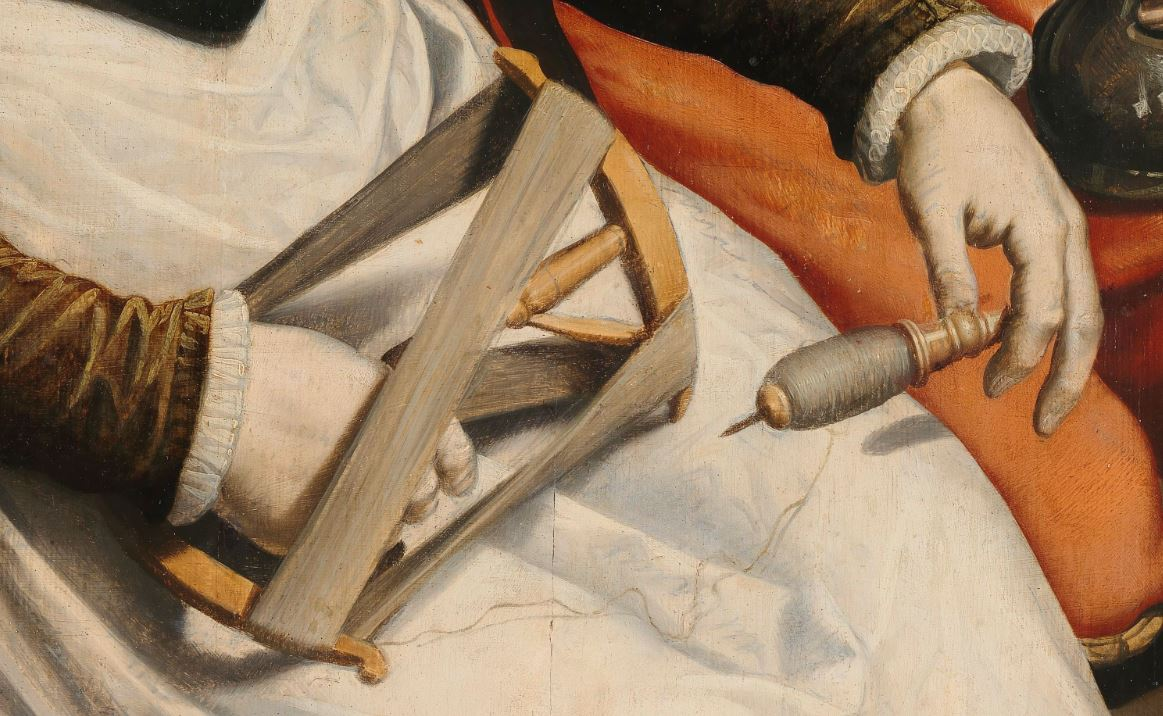 Man and Woman at a Spinning Wheel, Pieter Pietersz. (I), c. 1560 - c. 1570 detail
