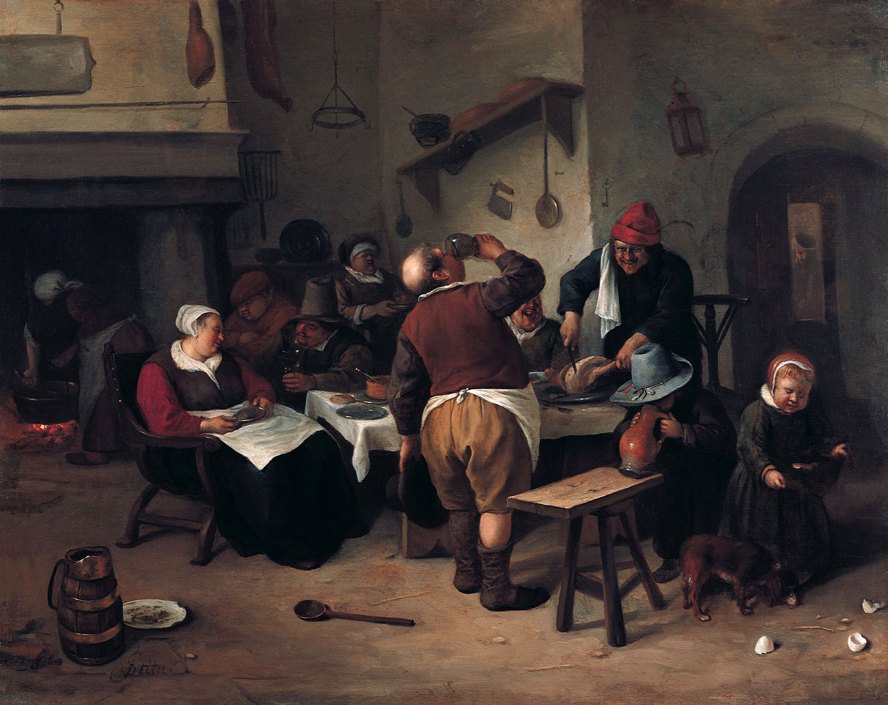 Steen 1650 ca A3 The Fat Kitchen Gartenpalais Liechtenstein in Vienna 45 x 36 cm