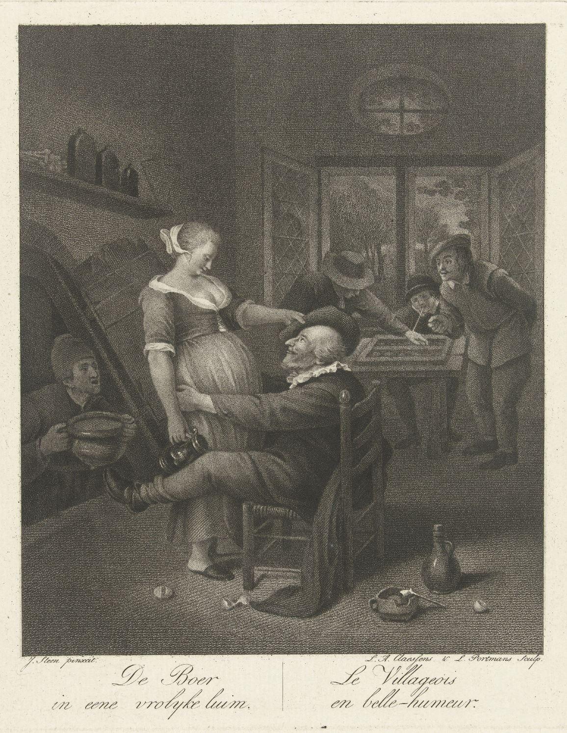 Steen 1660-78 Le villageaois en belle humeur gravure de Claessens