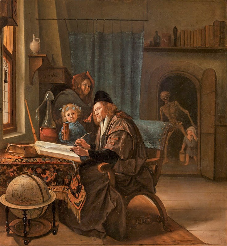 Steen 1662-63 The Scholar and Death National Gallery, Prague