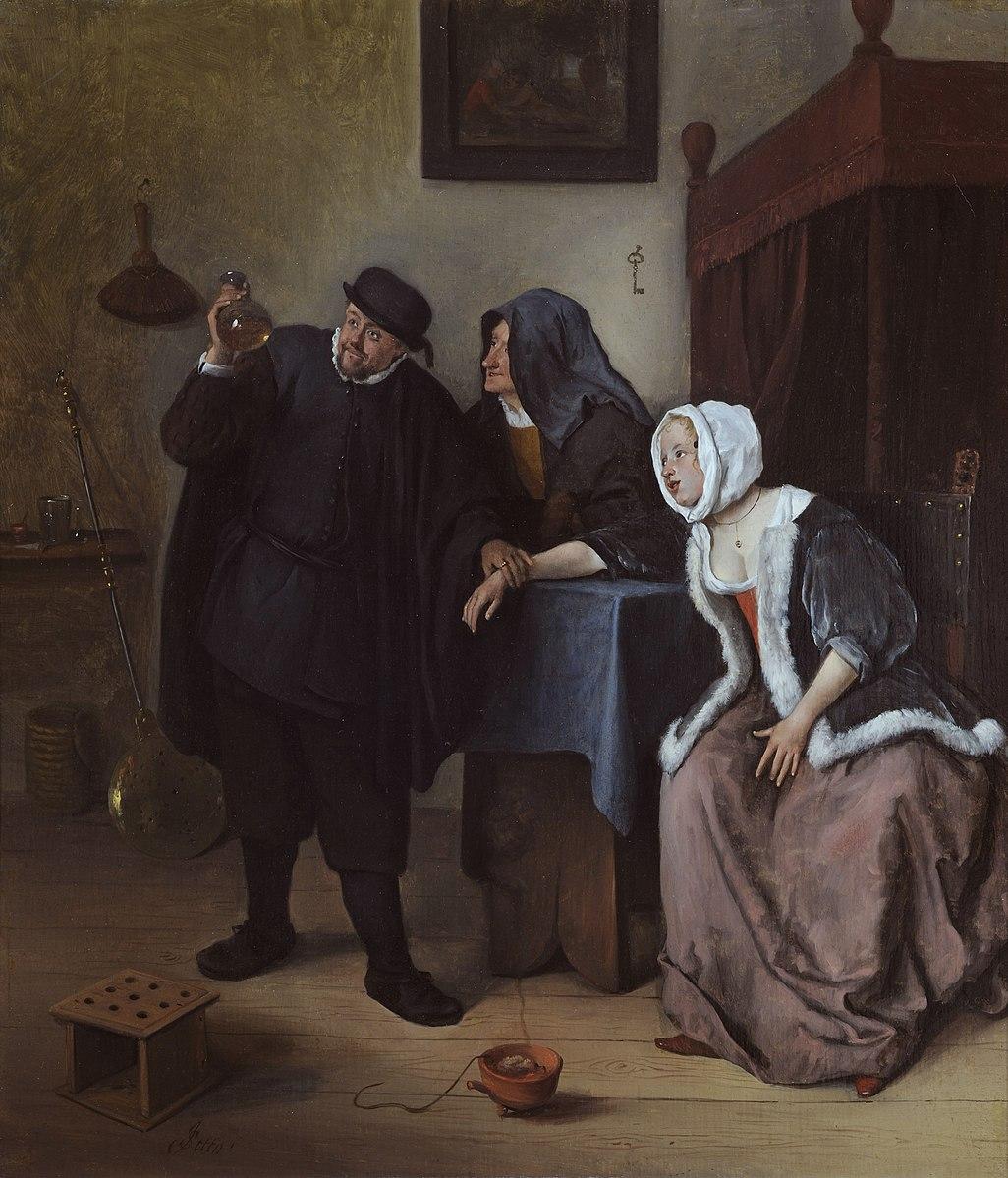 Steen 1663-65 La visite du docteur Museum De Lakenhal)