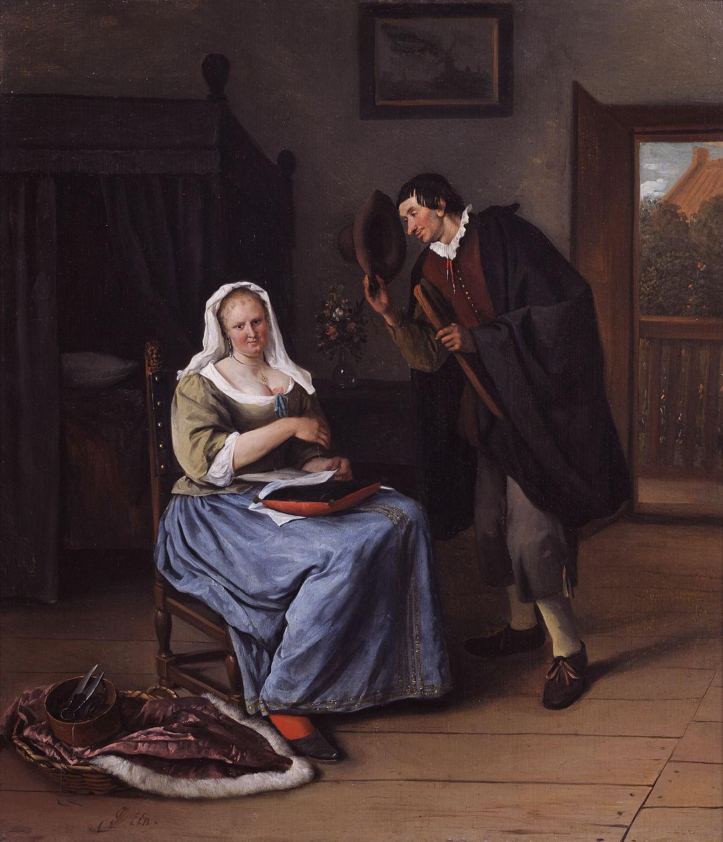 Steen 1663-65 L'amoureux offrent une oublie Museum De Lakenhal)