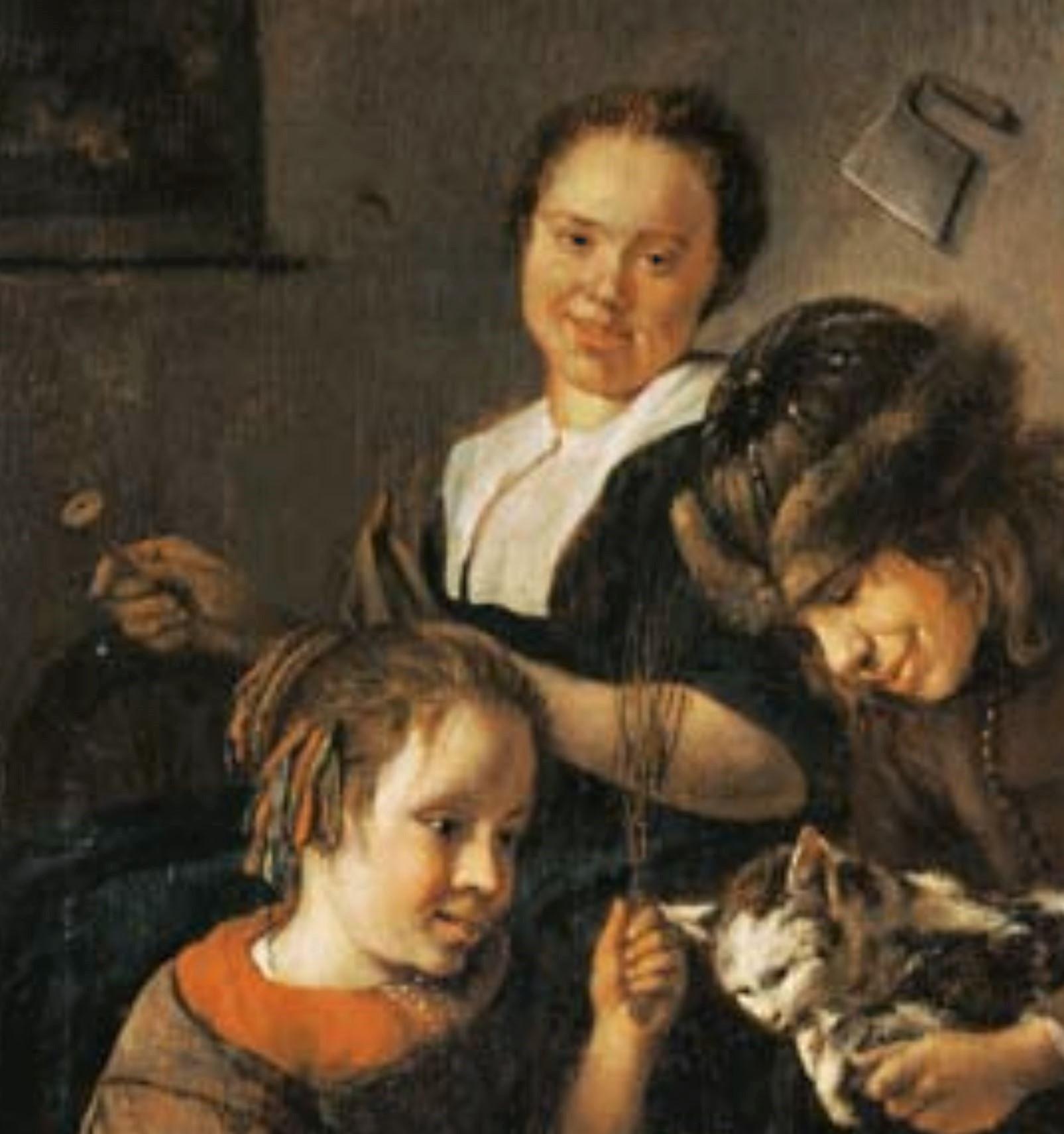Steen 1665-68 Enfants apprenant à lire a un chat Musee des BA Bale detail