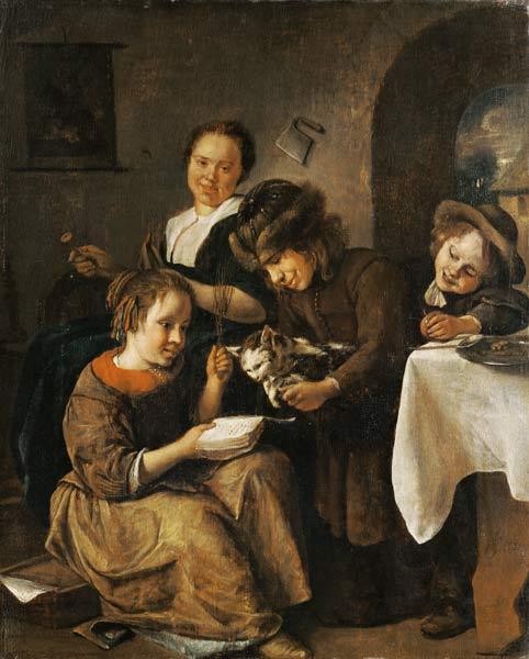 Steen 1665-68 Enfants apprenant à lire a un chat Musee des BA Bale