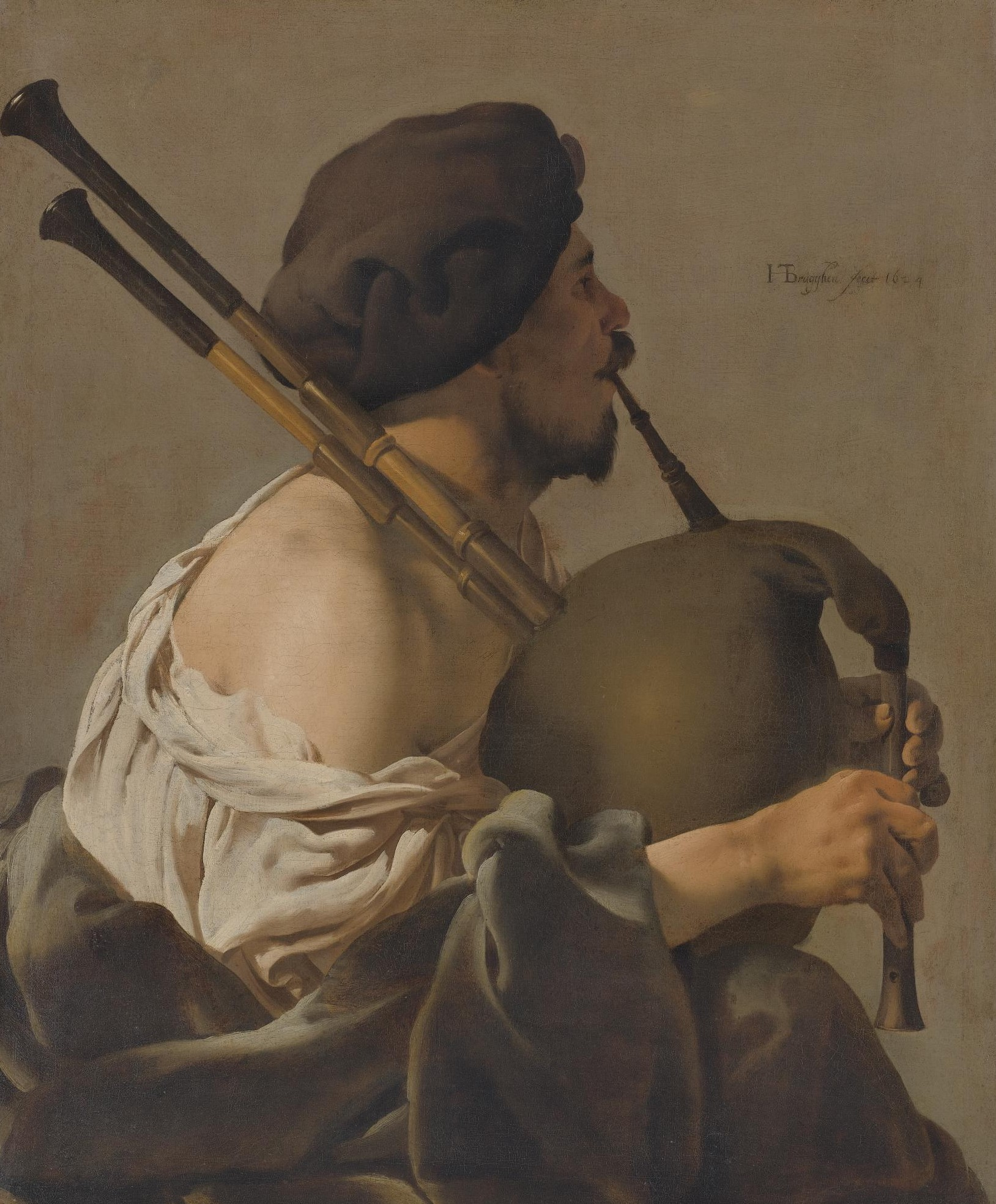 Ter Brugghen 1624 BAGPIPE PLAYER IN PROFILE coll priv