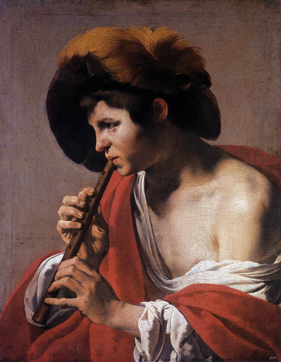 Terbrugghen 1621 Le joueur de flute a bec Staatliche Museen, Kassel