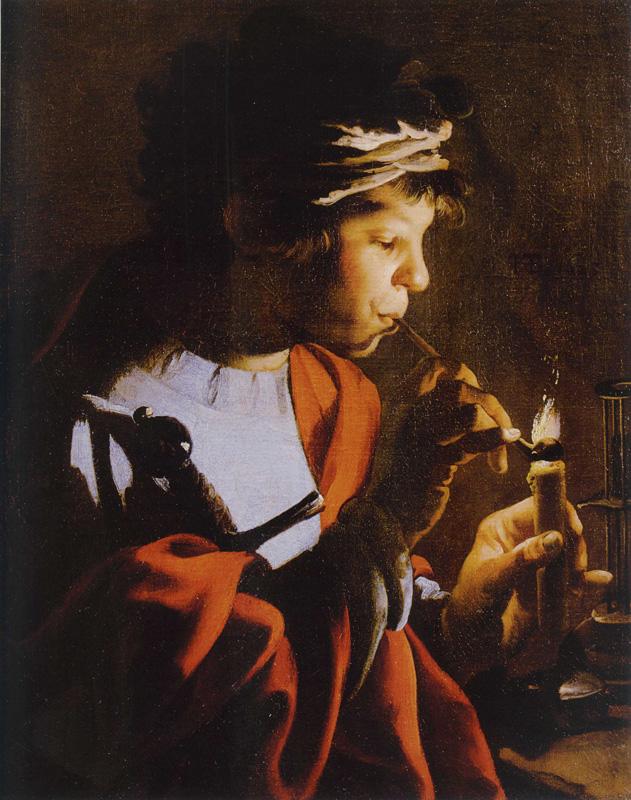 Terbrugghen 1623 garcon allumant sa pipe a une chandelle Dobo Istvan Vármuzeum - Egri Keptar,