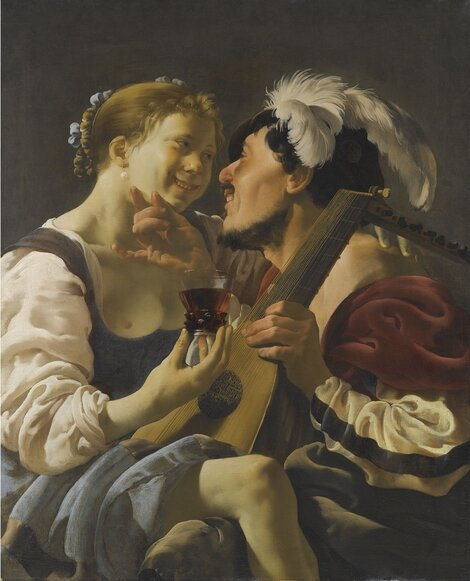 Terbrugghen 1625 ca A Luteplayer Carousing With A Young Woman Holding A Roemer coll priv