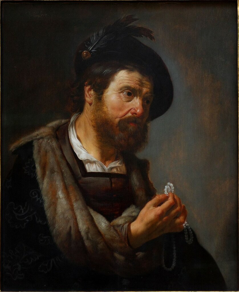 Van Bijlert 1625-30 bearded-man-with-a-string-of-pearls-in-his-hand-Musee des BA Budapest