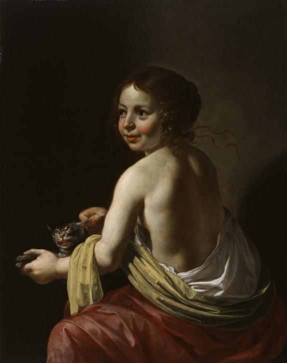 Van Bijlert 1635-45 Femme au chat Walters art museum baltimore 41.5 x 33 cm