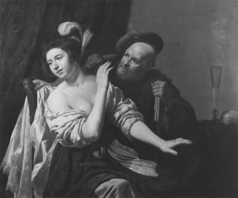 Van Bijlert 1635-45 Vieil homme offrant un collier de perles à une jeune femme Centraal Museum, Utrecht