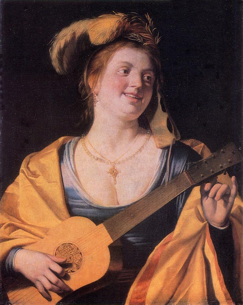 Van Honthorst 1631 Femme avec un masque accordant une guitare Galerie nationale de peinture Lvov