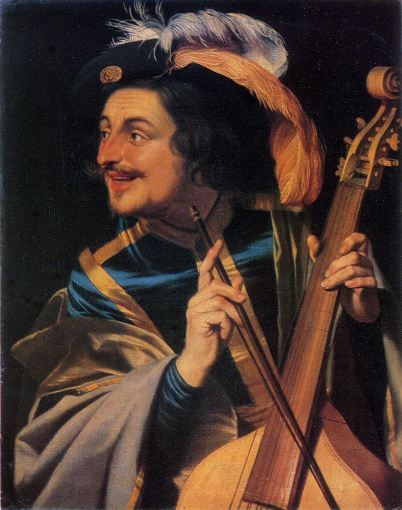 Van Honthorst 1631 Homme jouant de la viole de gambe Galerie nationale de peinture Lvov