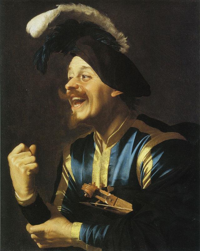 Van honthorst Violoniste tenant son violon sous le bras Chateau de Weissenstein Pommersfelden 83 x 66 cm