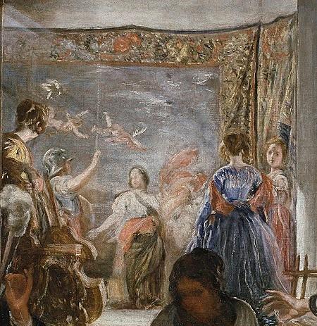 Velazquez 1657 las_hilanderas Prado scene interne