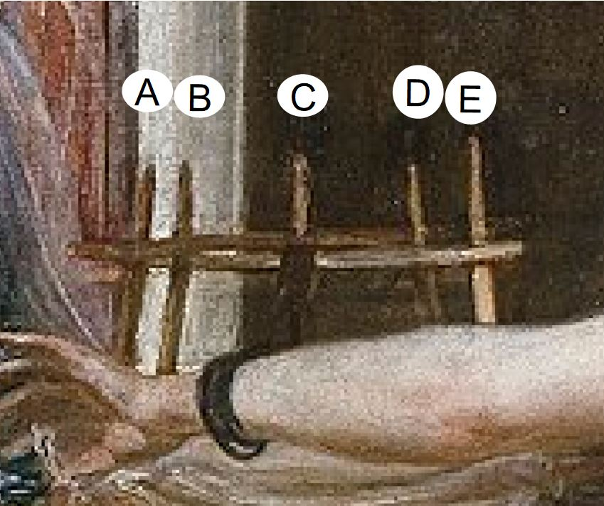 Velazquez 1657 las_hilanderas Prado schema devidoir