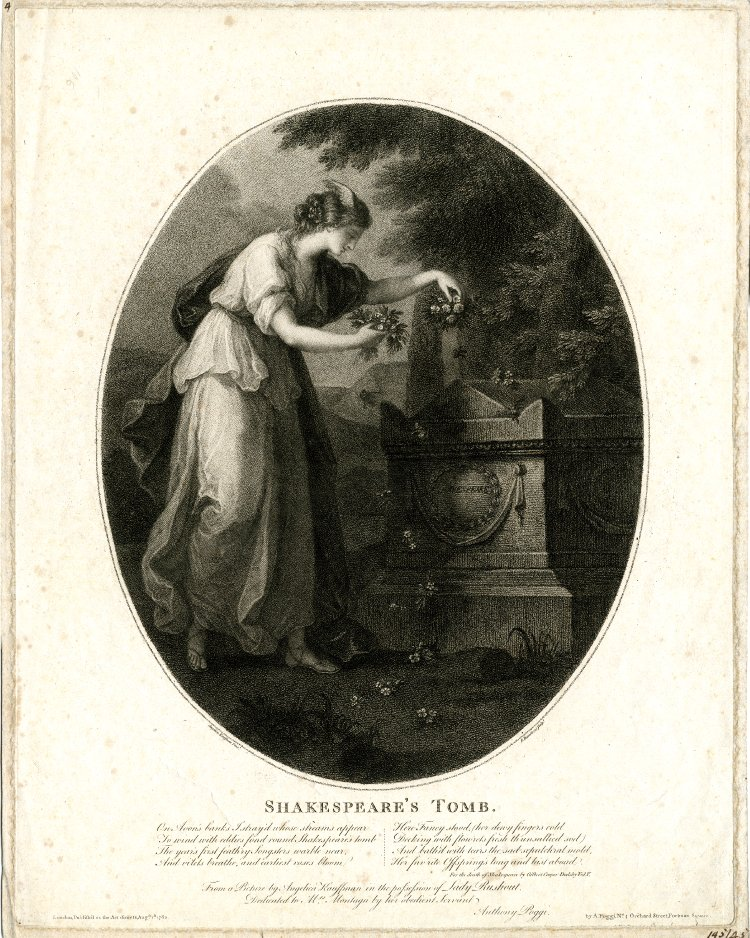 angelica kauffman 1782 Shakespeare's tomb gravure Bartolozzi de Bristish Museum