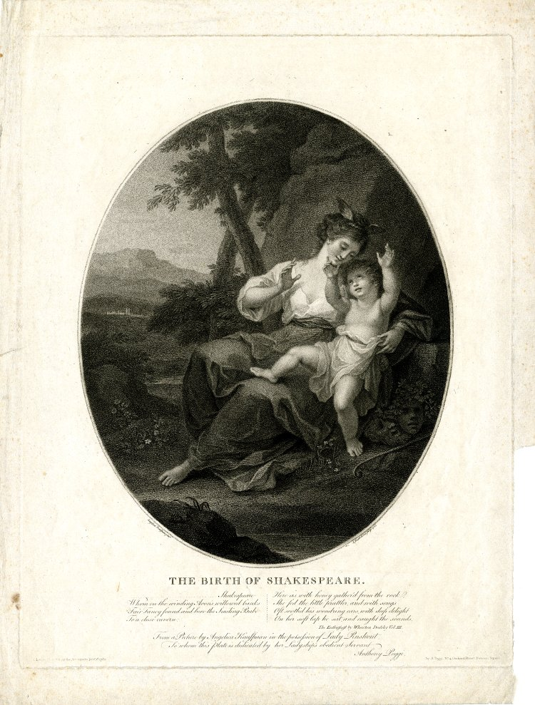 angelica kauffman 1782 The birth of Shakespeare gravure Bartolozzi de Bristish Museum
