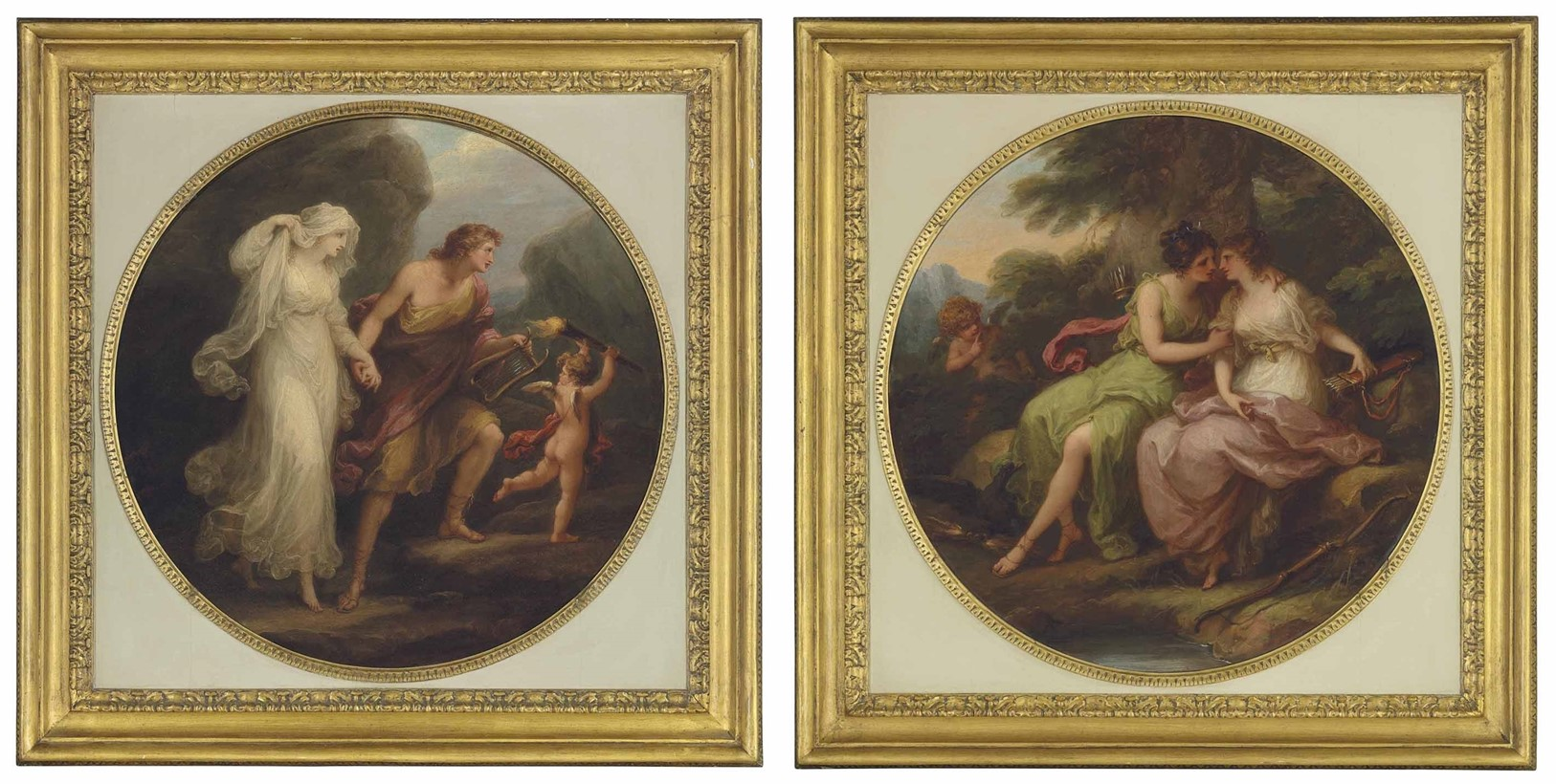 angelica kauffman orpheus_and_eurydice_and_jupiter_in_the_guise_of Diana, and Callisto gravures de Burke 1782 coll priv