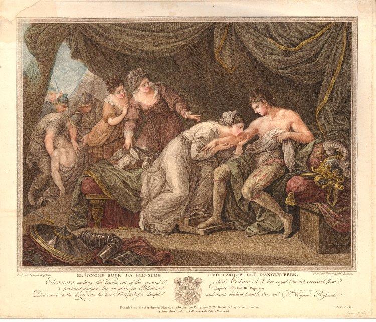 angelika kauffmann 1776 RA La tendre Eleonore sucant la blessure de son epoux royal Edouard I, assassine en Palestine par une dague empoisonnee