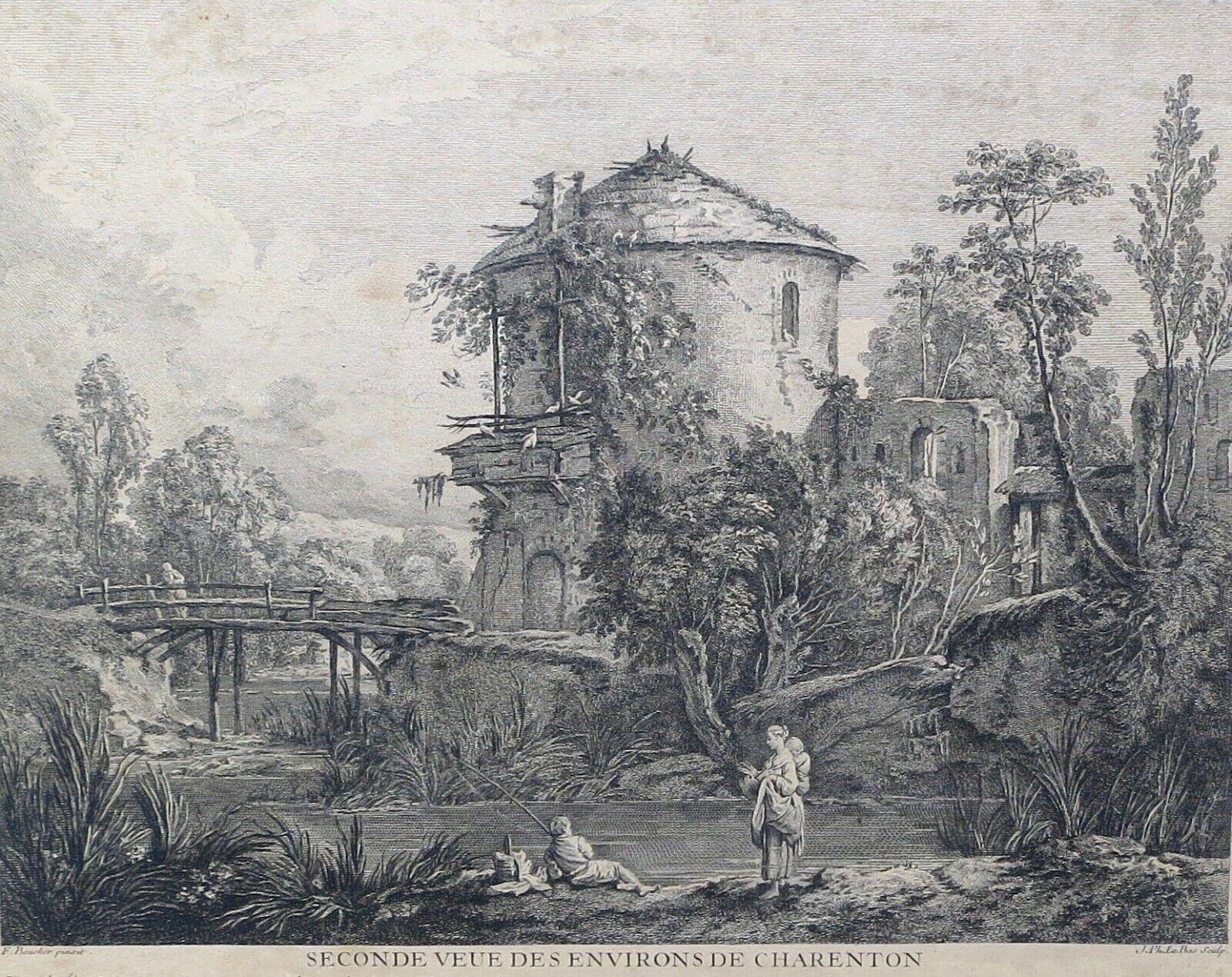 1747 Seconde Veue de Charenton, Eau-forte-de-J-P-Le-Bas
