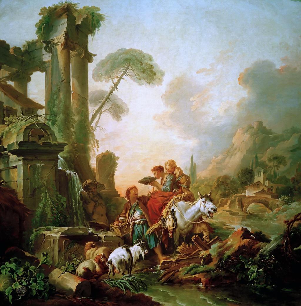 Boucher 1735 ca La Halte a la fontaine Alte Pinakothek Munich