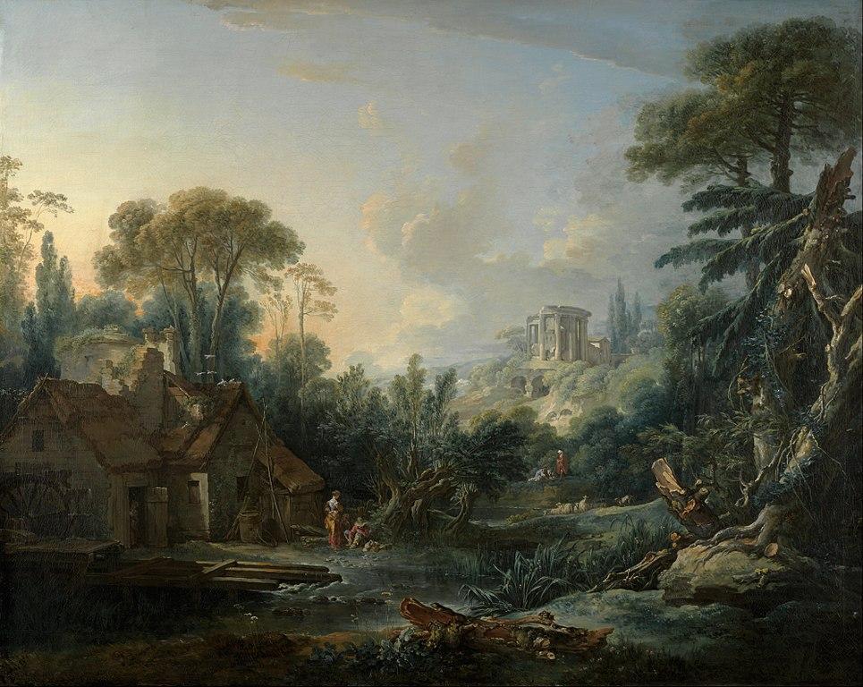 Boucher 1740 Paysage aux environs de Beauvais et souvenir d'Italie coll priv