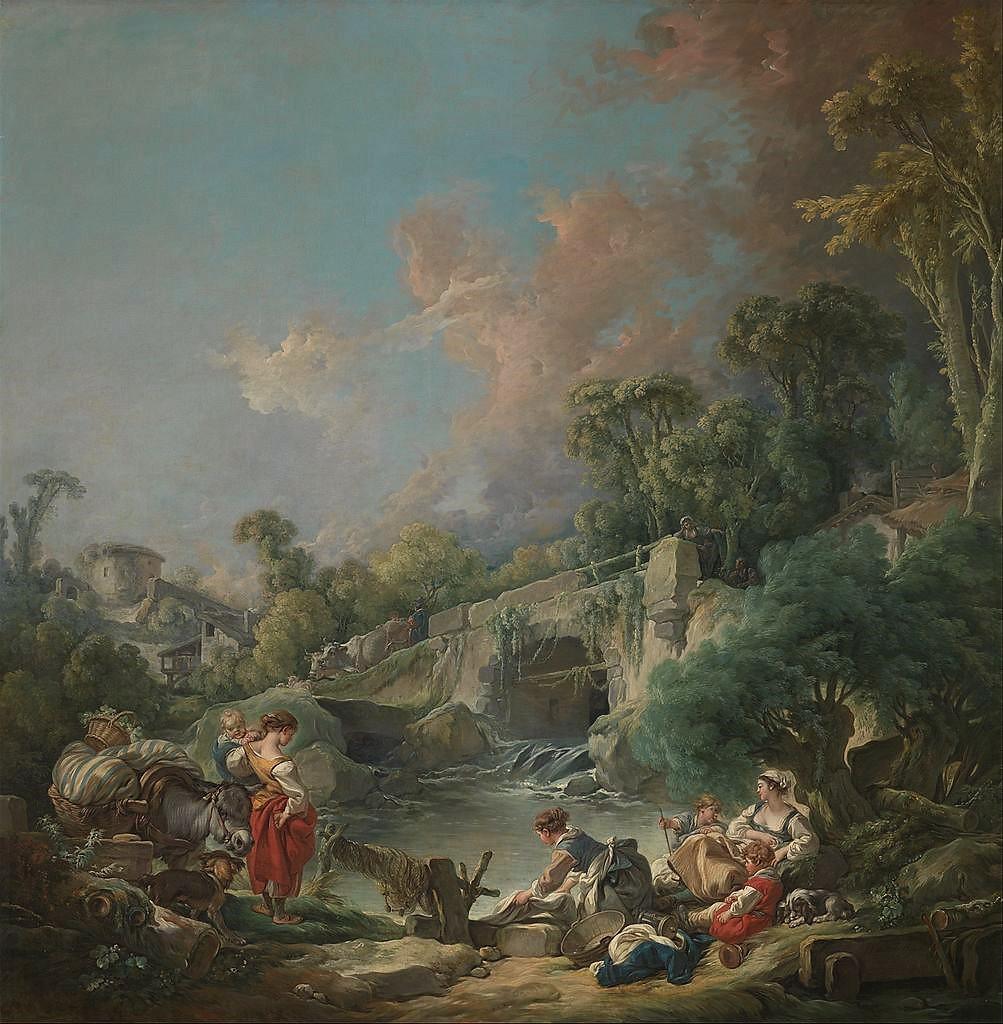 Boucher 1768a Le bonheur au village ou les lavandieres MET