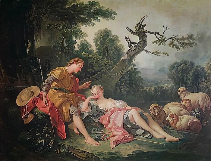Boucher A1 1743 La bergere endormie Mobilier National