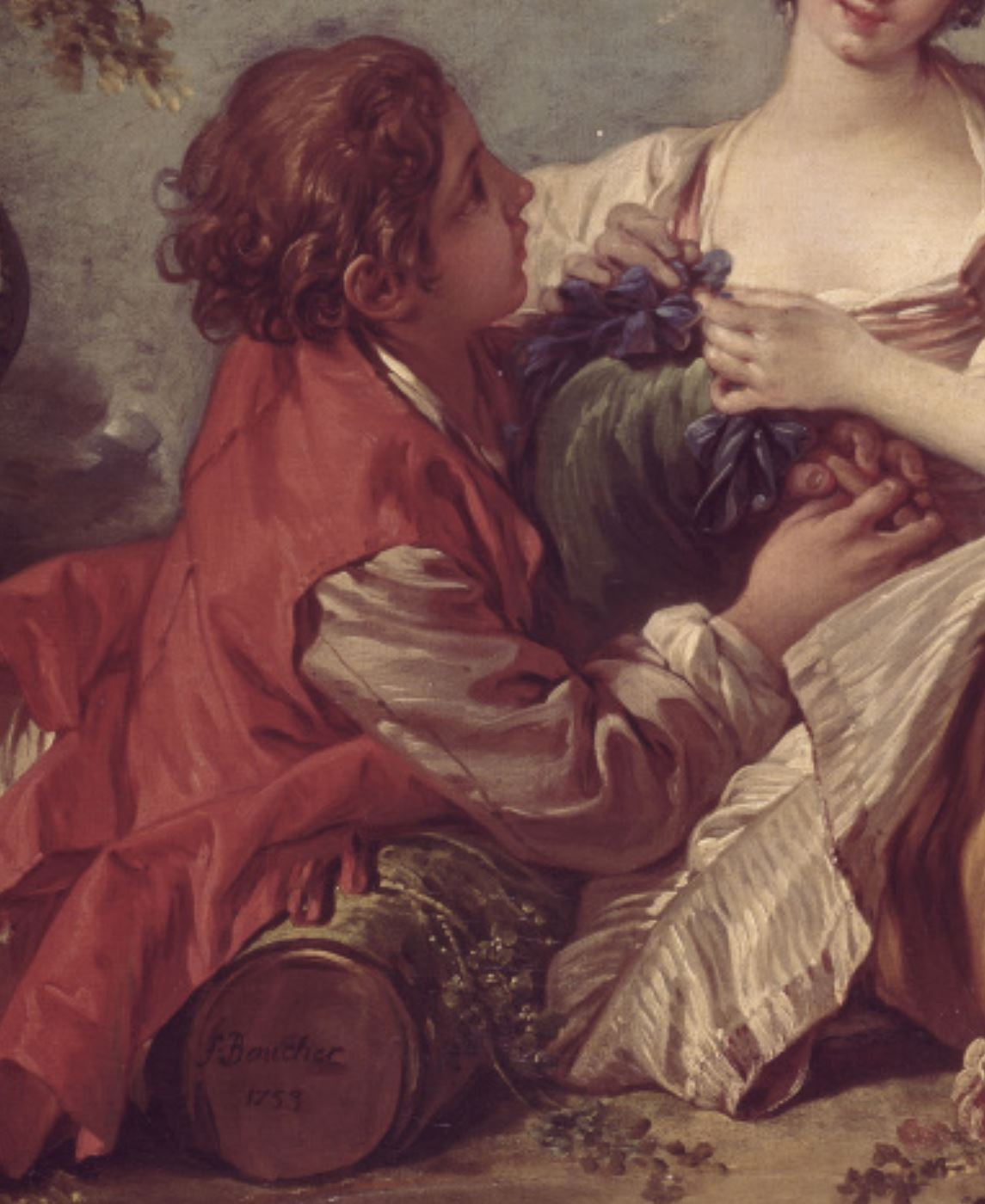 Boucher A1 1753 Sujet_pastoral_la_musette_ou_La_marotte Mobilier National detail.