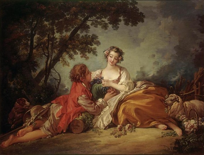 Boucher A1 1753 Sujet_pastoral_la_musette_ou_La_marotte Mobilier National.