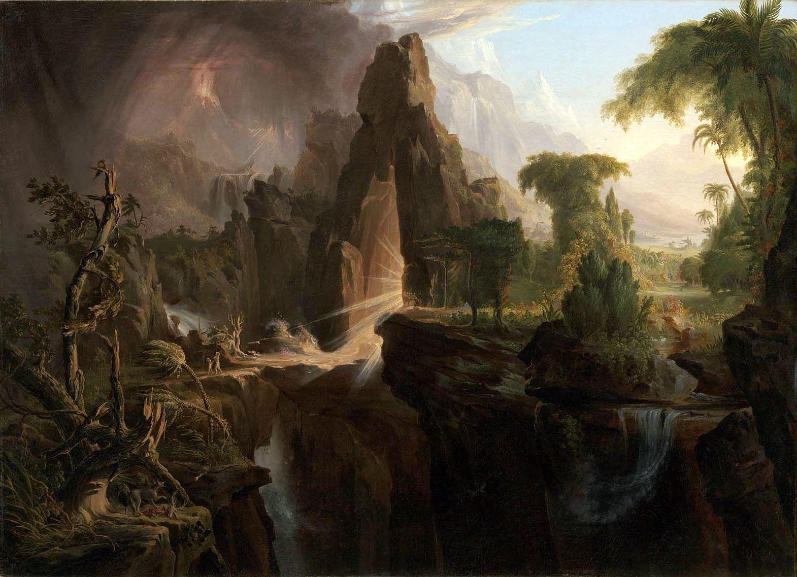 Cole 1828 Expulsion from The_Garden_of_Eden_, Museum of Fine Arts, Boston 100.96 cm × 138.43 cm