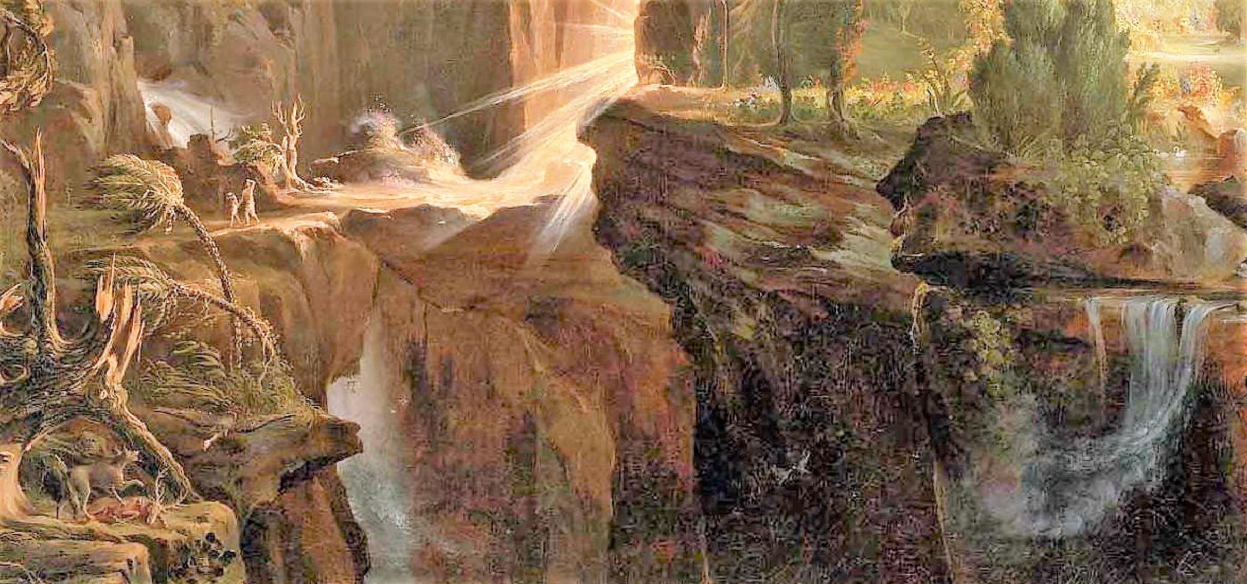 Cole 1828 Expulsion from The_Garden_of_Eden_, Museum of Fine Arts, Boston 100.96 cm × 138.43 cm detal eau
