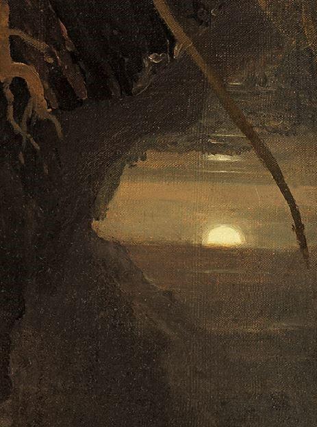 Cole 1828 ca Expulsion. Moon and Firelight , Thyssen-Bornemisza, Madrid. detail lunejpg