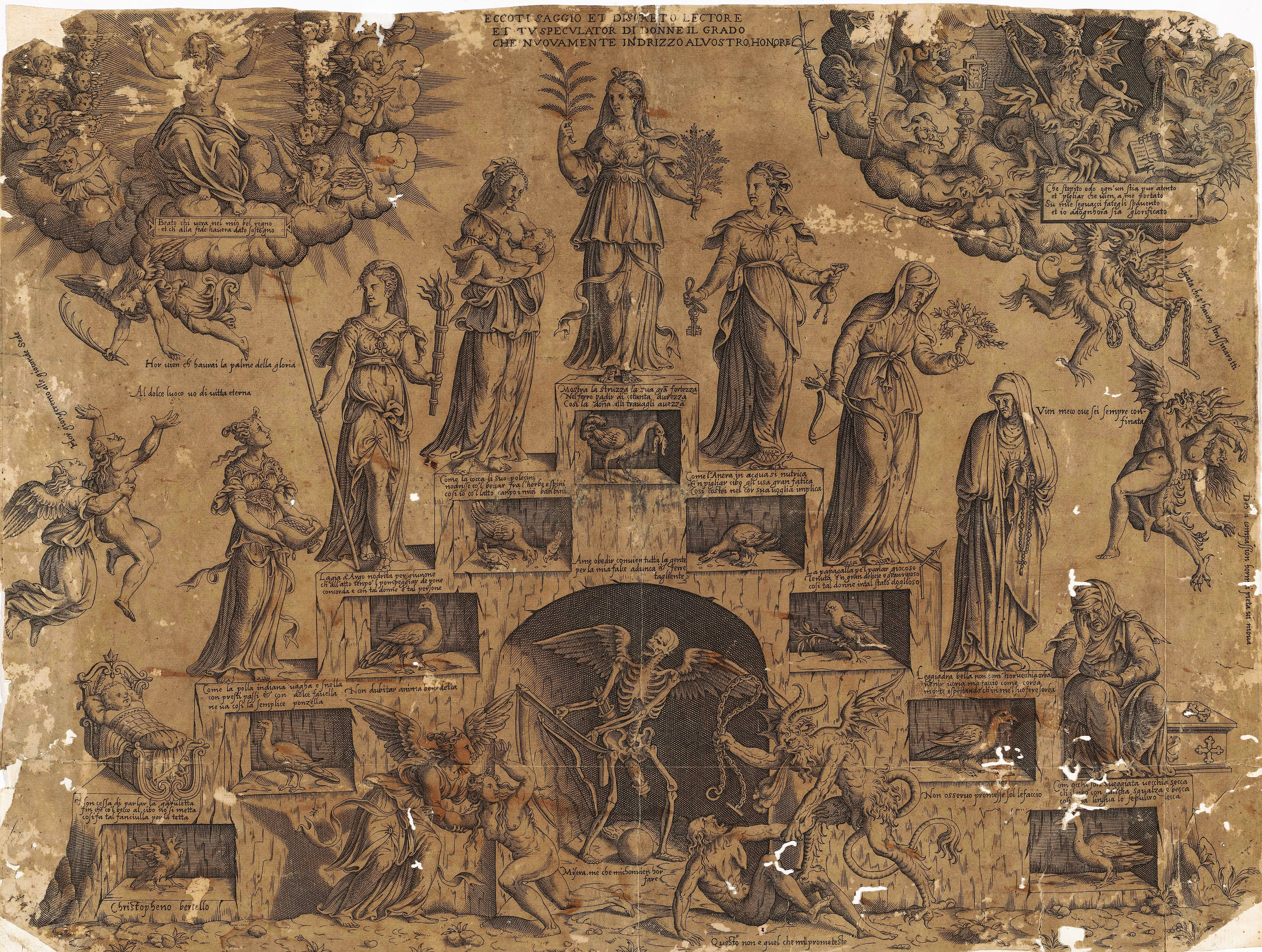 Cristofano Bertelli, c. 1560 Escalier de la vie feminine Rijksmuseum
