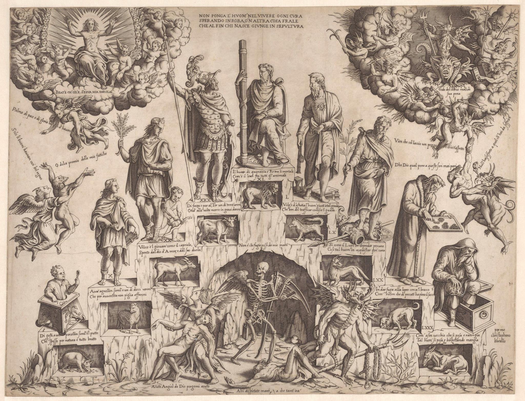Cristofano Bertelli, c. 1560 Escalier de la vie masculine Rijksmuseum