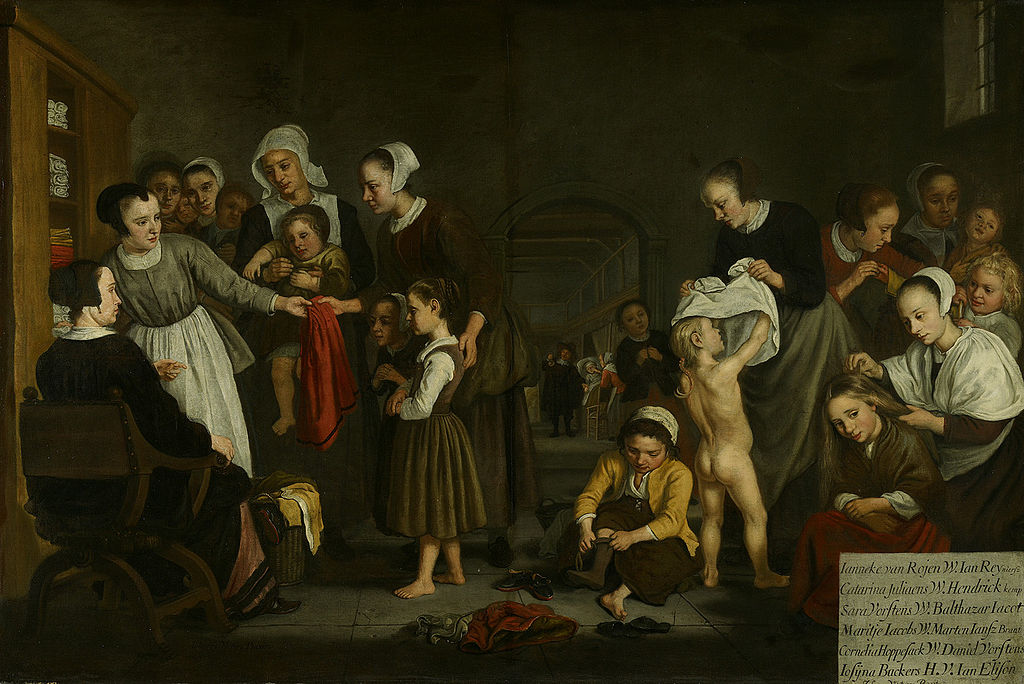 Jan Victors 1659-60 Het kleden der wezen-Dressing the orphans in the Diaconal Orphanage Amsterdam Museum
