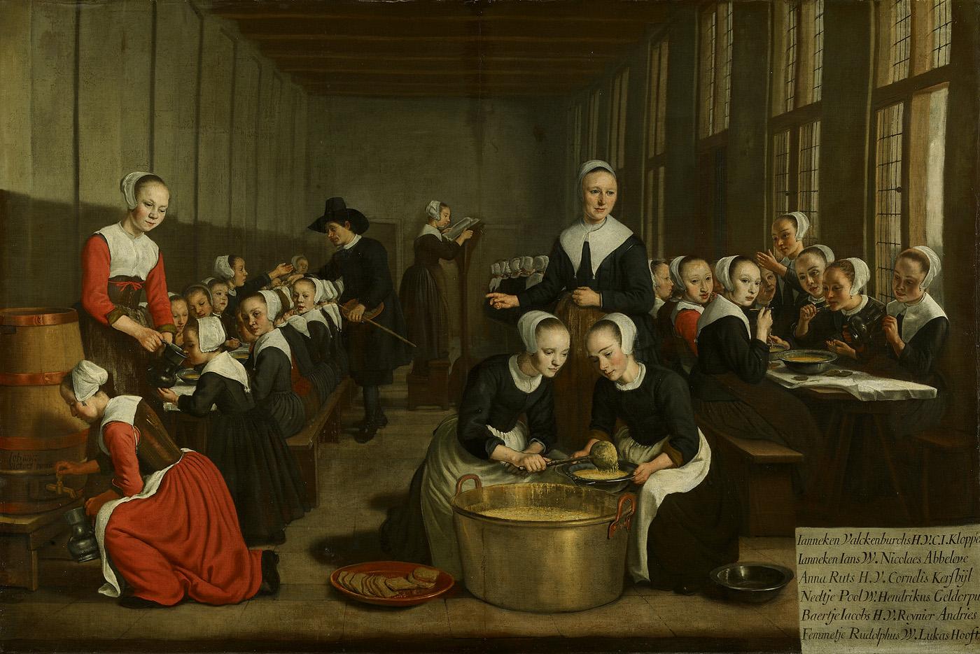 Jan Victors 1659-60 Het voeden der wezen in het Diaconieweeshuis-Maaltijd van weesmeisjes uit het Diaconieweeshuis Amsterdam Museum