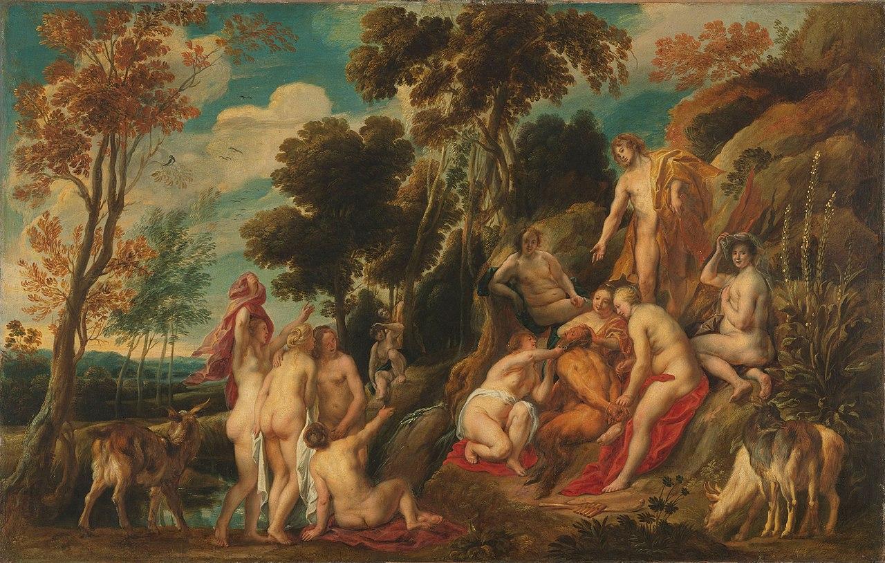 Jordaens 1640 ca Marsyas maltraite par les Muses Mauritshuis 77cm × w 120cm