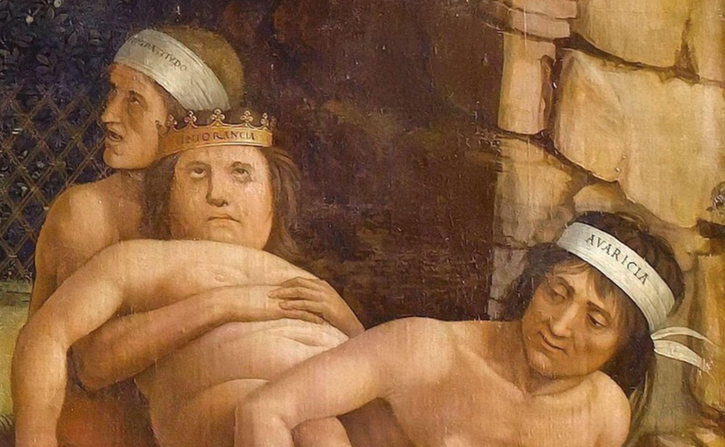 Mantegna 1499-1502 Minerve chassant les Vices du jardin de la Vertu Louvre detail